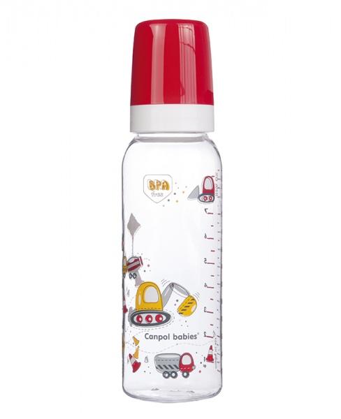 Canpol Babies 11/841 Láhev s potiskem Happy Animals 250 ml bez BPA červená