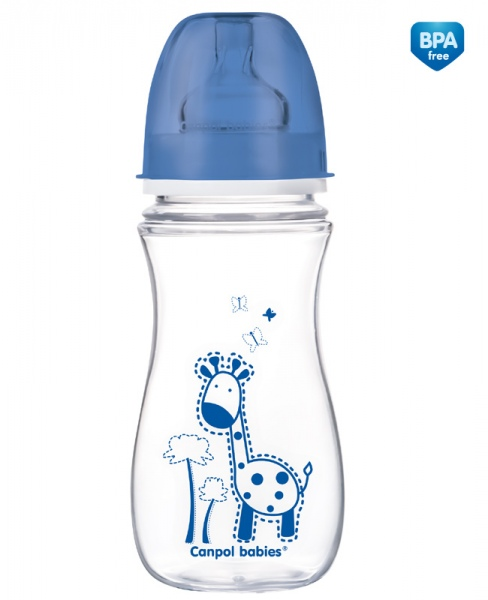 Canpol Babies 35/204 Láhev se širokým hrdlem Colourful Animals 300ml modrá