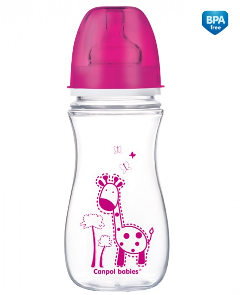 Canpol Babies 35/204 Láhev se širokým hrdlem Colourful Animals 300ml růžová