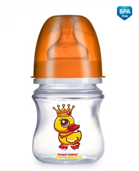 Canpol Babies 35/100 Láhev se širokým hrdlem EasyStart Fairy Tale 120ml oranžová