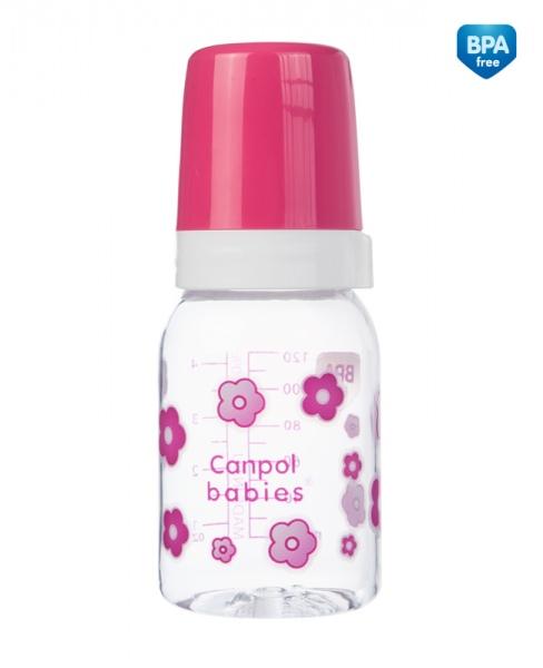 Canpol Babies 11/820 Láhev s jednobarevným potiskem 120ml bez BPA růžová