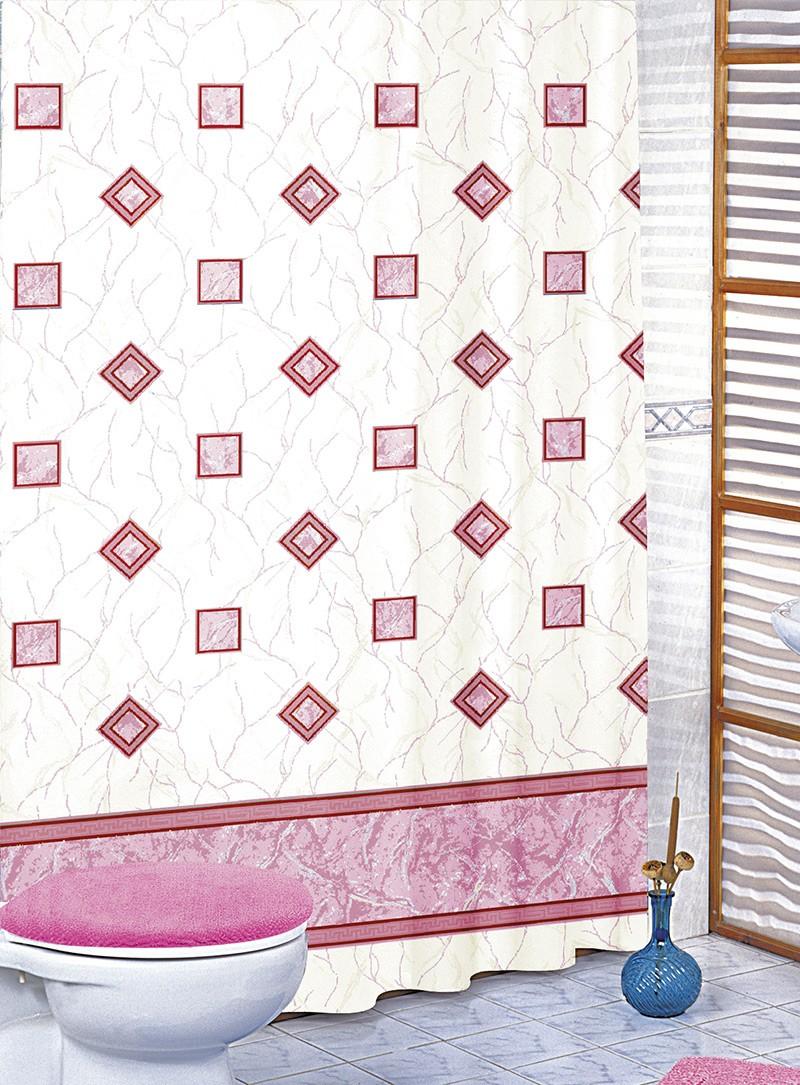 Brotex Koupelnový závěs růžové čtverce