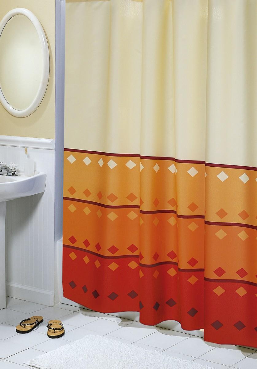 Brotex Koupelnový závěs geometrie oranžová