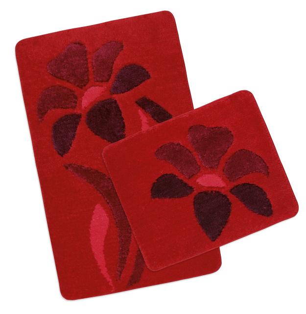 Brotex Koupelnová SADA ULTRA 60x100+60x50 cm Kytka červená
