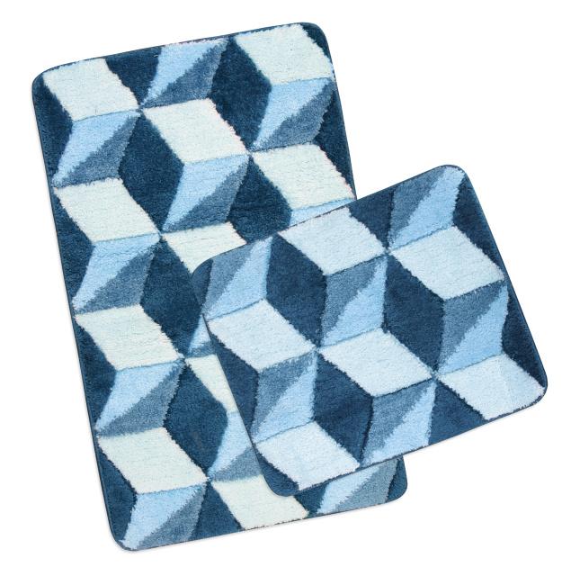 Brotex Koupelnová SADA ULTRA 60x100+60x50 cm Krychle modré