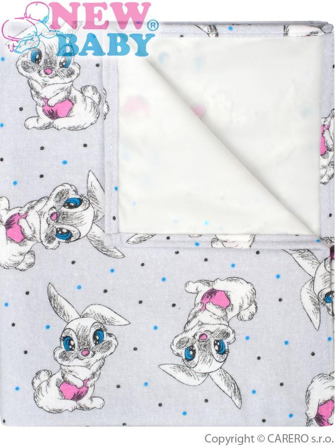 Flanelová podložka New Baby šedá s králíčky
