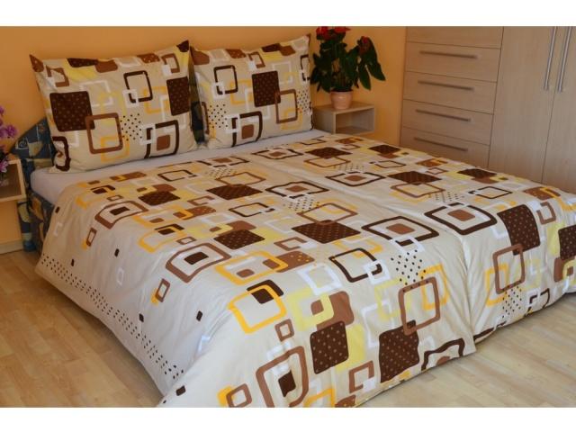 Brotex Prodloužené povlečení bavlna 140x220 + 70x90cm Hlavolam béžový, hotelový uzávěr