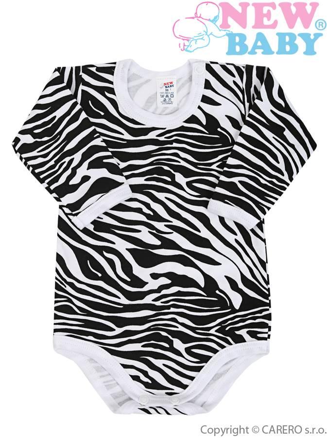 Kojenecké body s dlouhým rukávem celopotištěné New Baby Zebra, vel. 86