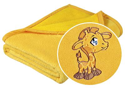 Brotex Dětská micro deka 75x100cm žlutá s výšivkou