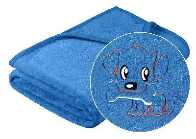 Brotex Dětská micro deka 75x100cm modrá s výšivkou