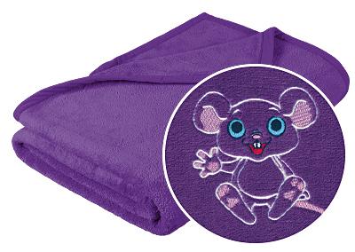 Brotex Dětská micro deka 75x100cm fialová s výšivkou