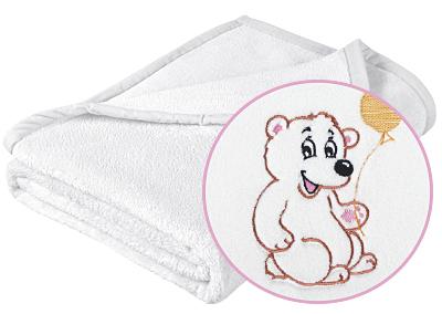 Brotex Dětská micro deka 75x100cm bílá s výšivkou