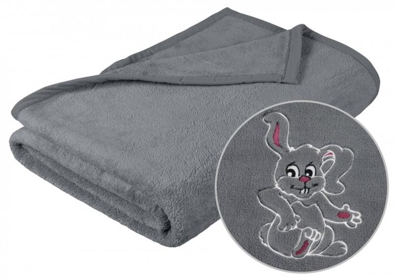 Brotex Dětská micro deka 75x100cm šedá s výšivkou