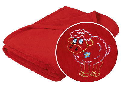 Brotex Dětská micro deka 75x100cm červená s výšivkou