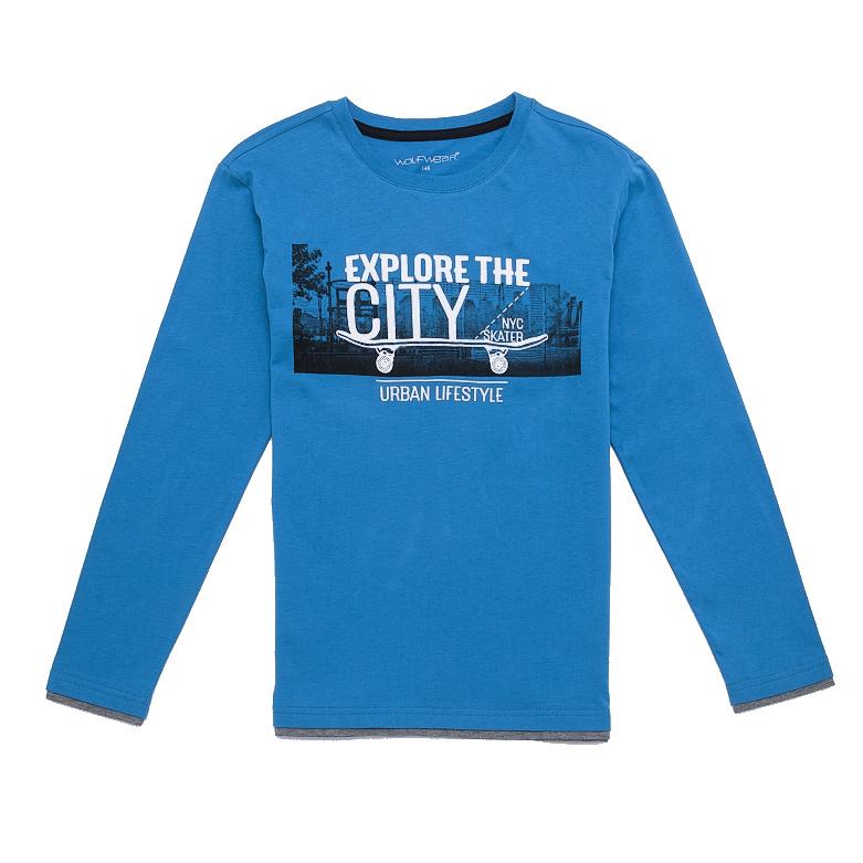 Dětské chlapecké triko dlouhý rukáv Wolf S2632 Modré, vel. 146