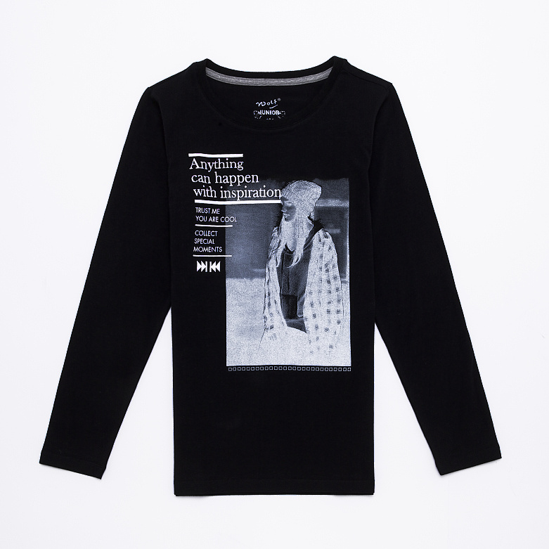 Dětské dívčí triko s dlouhým rukávem Wolf S2643 Černé, vel. 134