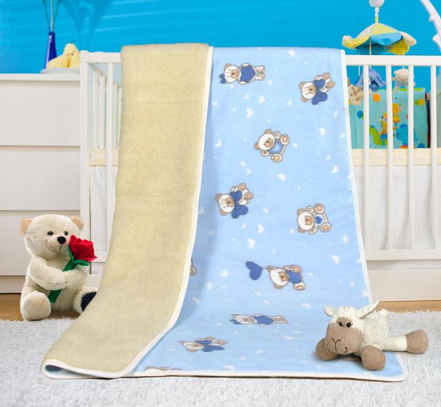 Bellatex Dětská vlněná deka Evropské merino medvídek modrý 100x150 cm