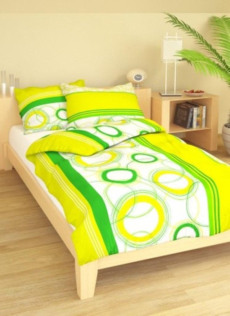 Brotex Přehoz přes postel dvoulůžkový Planety zelenožluté 240x220 cm