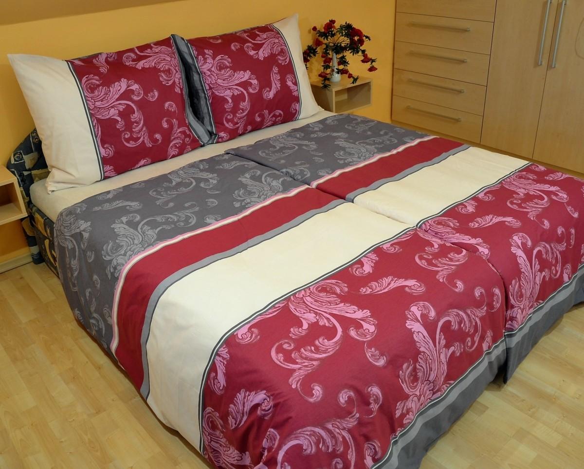 Brotex Přehoz přes postel dvoulůžkový Rozeta vínová 240x220 cm
