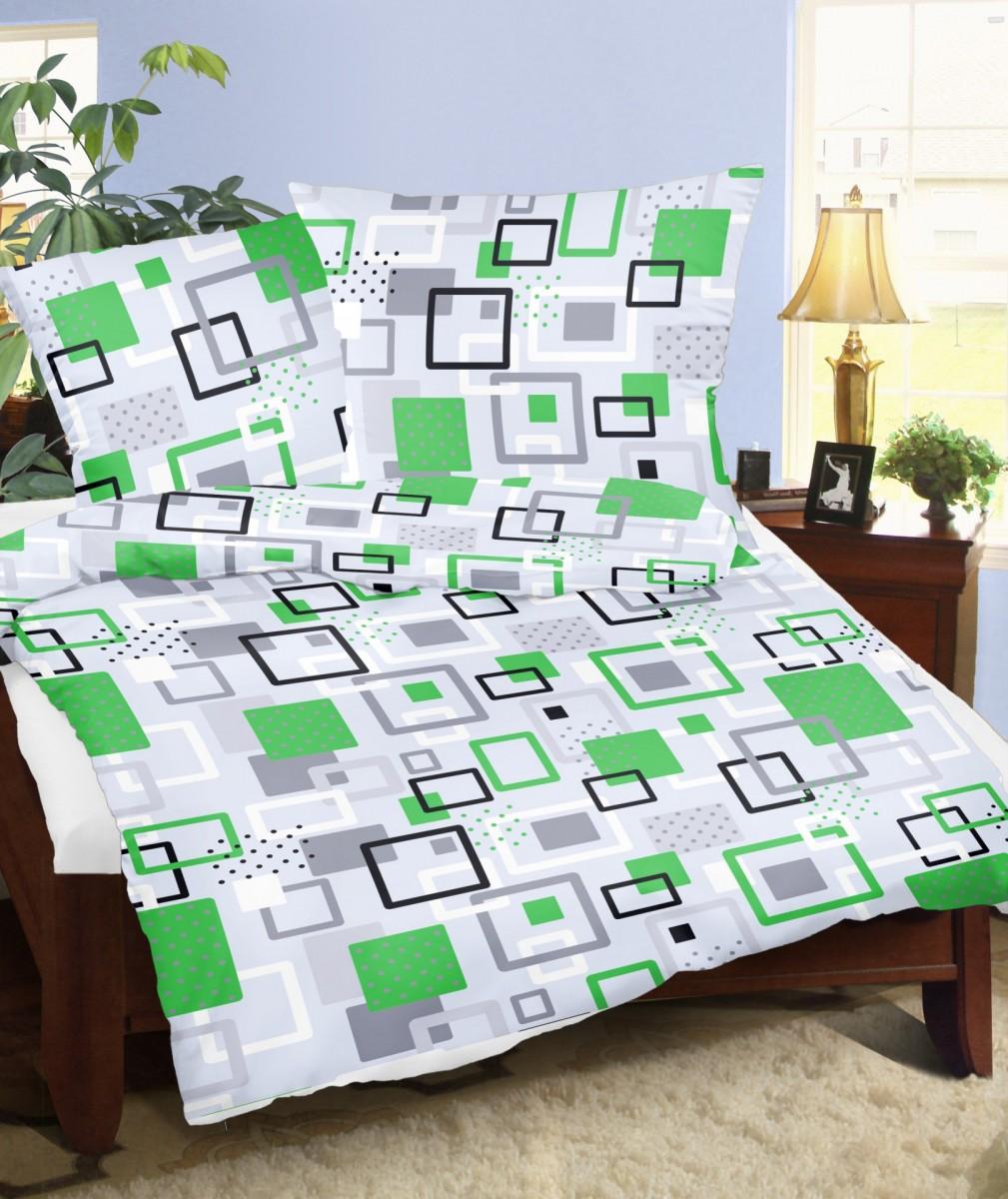 Brotex Francouzské povlečení flanel 240x200 + 70x90 Labyrint zelený; nitěný knoflík