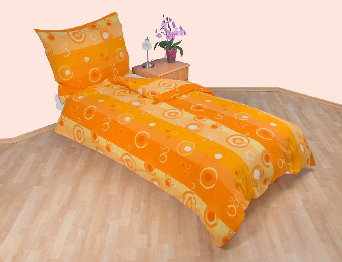 Brotex Francouzské povlečení flanel 240x200 + 70x90 Kola oranžová; nitěný knoflík
