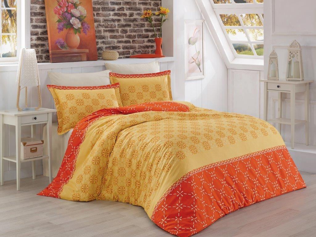 Brotex Francouzské povlečení Satén 240x220 + 70x90cm Menfi oranžové; zipový uzávěr