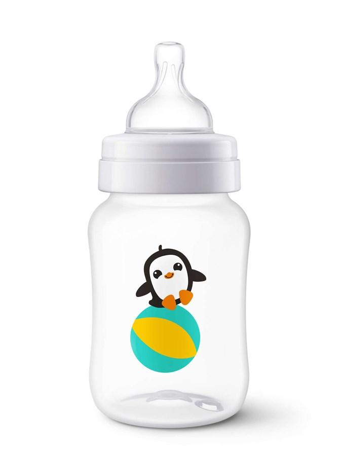 Kojenecká láhev Avent Classic 260 ml bílá s tučňákem