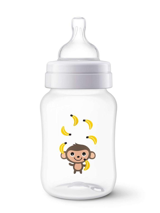 Kojenecká láhev Avent Classic 260 ml bílá s opičkou