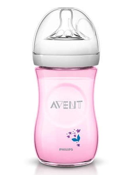 Kojenecká láhev Avent Natural s květinkami 260 ml růžová