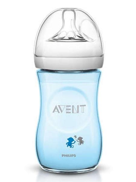 Kojenecká láhev Avent Natural s opičkami 260 ml modrá