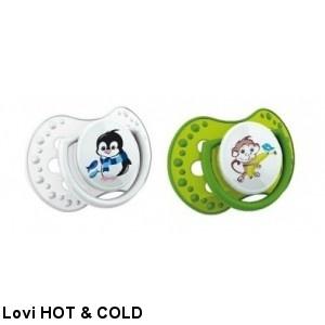 Fotografie 22 816 Šidítko 0-3m silikonové dynamické LOVI Hot Cold 2ks zelené