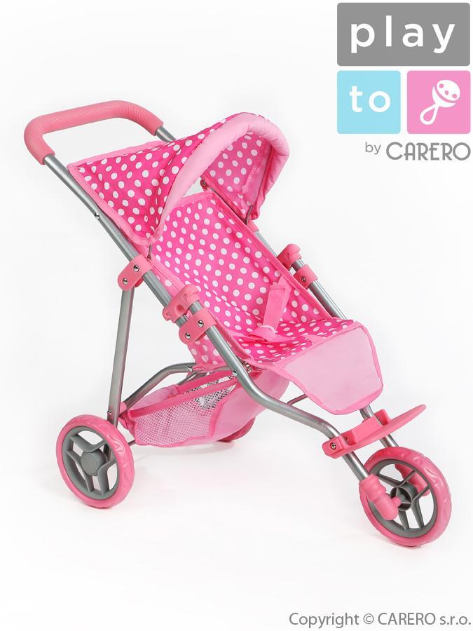 Sportovní kočárek pro panenky PlayTo Olivie světle růžový