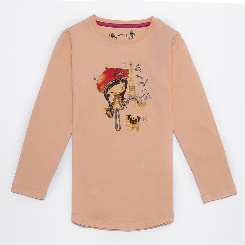 Dětské dívčí triko s dlouhým rukávem Wolf S2641 Krémové, vel. 116