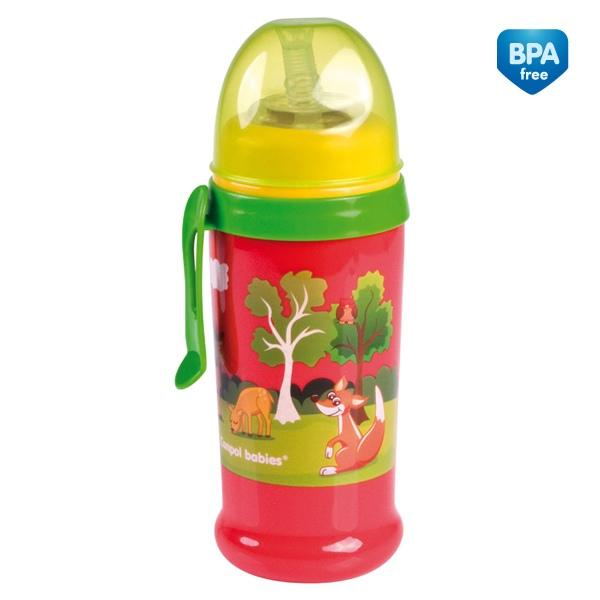 Canpol Babies 56/510 Sportovní láhev se silikonovou nevylévací slámkou červený