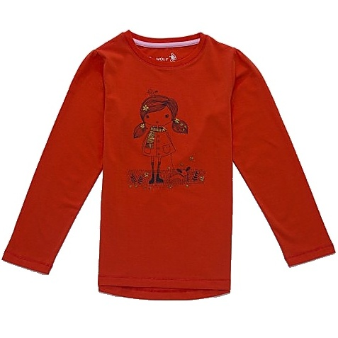 Dětské dívčí tričko dlouhý rukáv Wolf S2741 červené, vel. 122