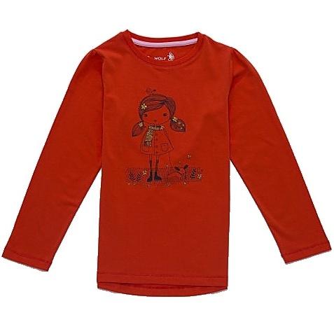Dětské dívčí tričko dlouhý rukáv Wolf S2741 červené, vel. 116