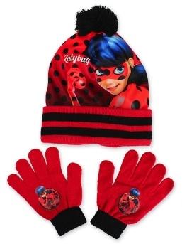 Setino 780-642 Dětská zimní dívčí čepice + rukavice Kouzelná beruška černá