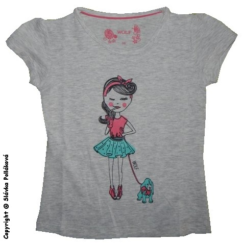 Dětské dívčí tričko krátký rukáv Wolf S2521 Šedé, vel. 128