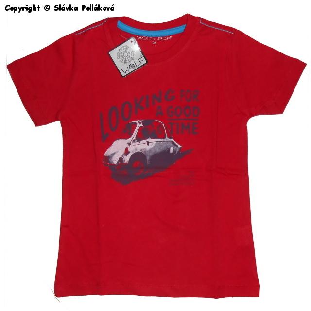 Dětské chlapecké tričko krátký rukáv Wolf S2502 Červené, vel. 104
