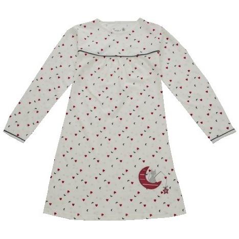 Dětská dívčí noční košile dlouhý rukáv Wolf S2759 bílá, vel. 110