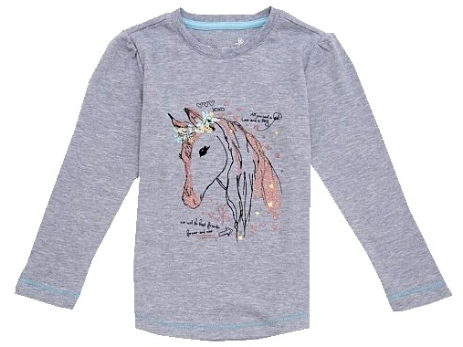 Dětské dívčí tričko dlouhý rukáv Wolf S2744 šedé, vel. 122