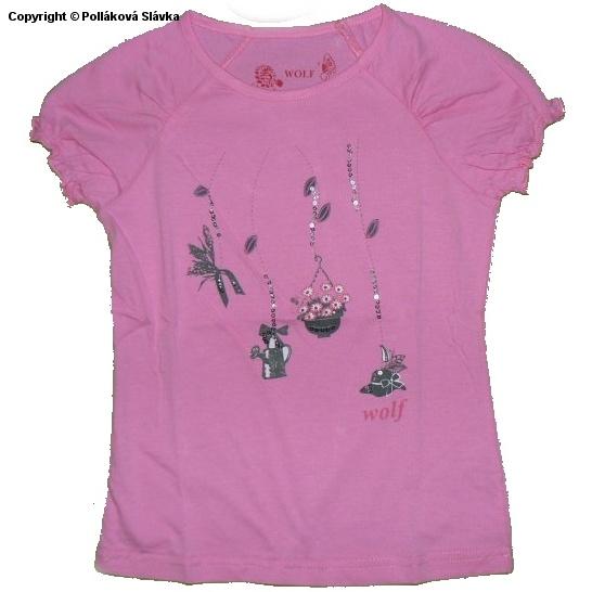 Dětské dívčí tričko krátký rukáv Wolf S2314 Růžové, vel. 122