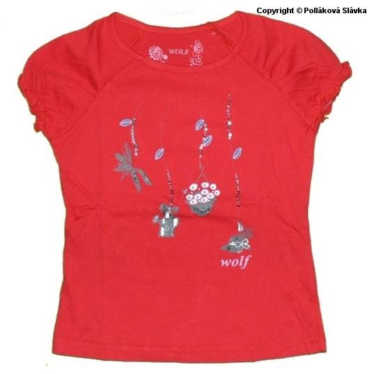 Dětské dívčí tričko krátký rukáv Wolf S2314 Červené, vel. 122
