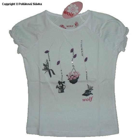 Dětské dívčí tričko krátký rukáv Wolf S2314 Bílé, vel. 110
