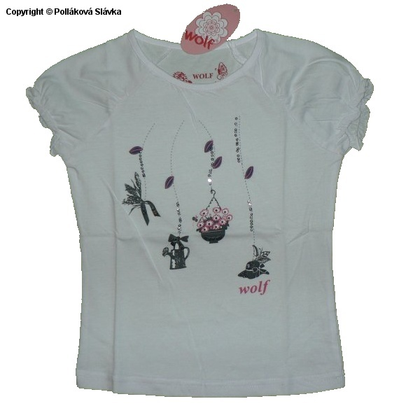 Dětské dívčí tričko krátký rukáv Wolf S2314 Bílé, vel. 98