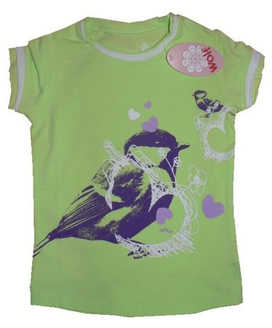 Dětské dívčí tričko krátký rukáv Wolf S2112 Zelené, vel. 98