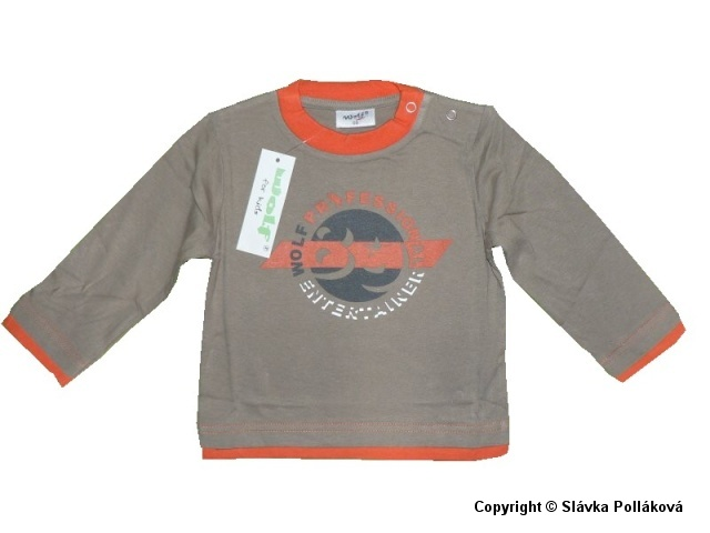 Kojenecké chlapecké triko dlouhý rukáv Wolf S2939 Hnědé, vel. 86