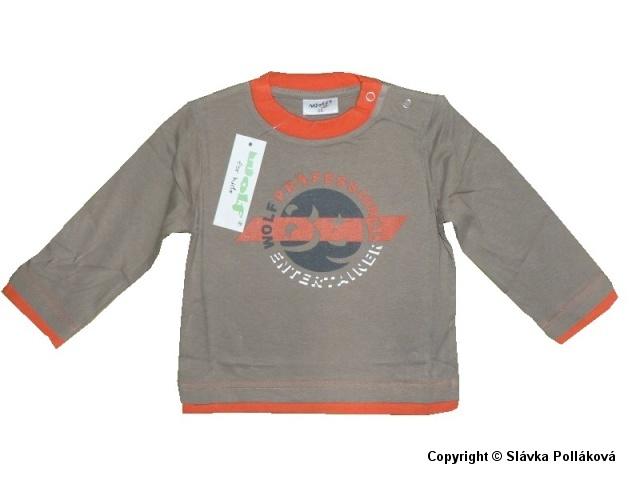 Kojenecké chlapecké triko dlouhý rukáv Wolf S2939 Hnědé, vel. 74