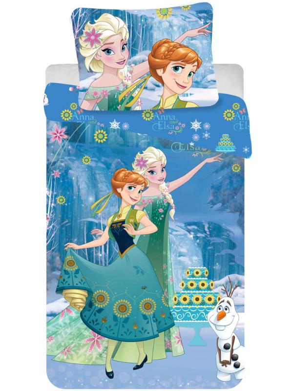 Fotografie Jerry Fabrics Dětské povlečení Ledové Království cake bavlna 140x200 + 70x90 cm