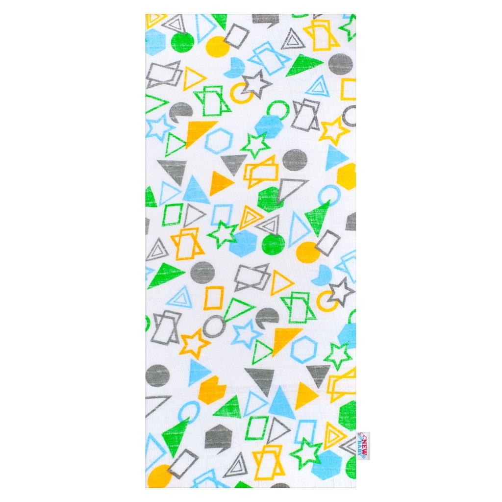 Bavlněná plena s potiskem New Baby bílá geometrické tvary